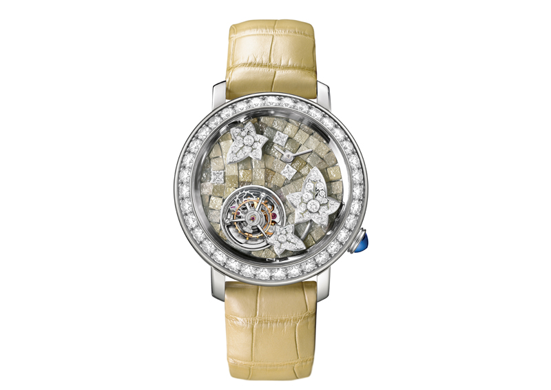 Lierre de Lumiäre Watch set in white gold, 30 round diamonds, brilliant and baguette diamonds on the dial, rough brilliant bezel _ Beige strap 1-SMALL